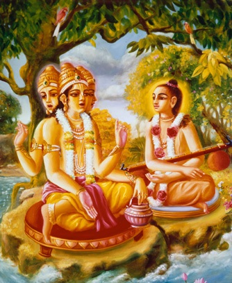 BrahmA imparting the legend of Rama to Narad